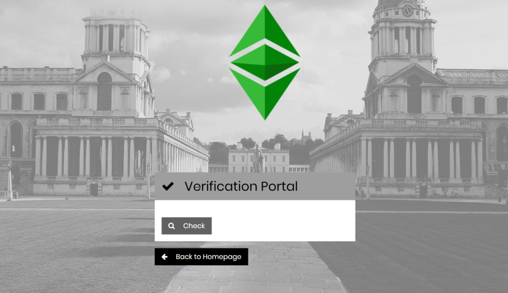the page on which the third party can verify the validity of the document for record management