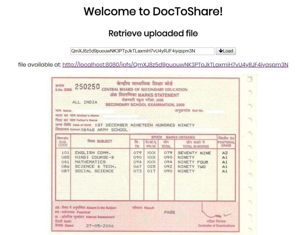 The record management system DocToShare displays the verified document as it is is retrieved by entering the correct document hash